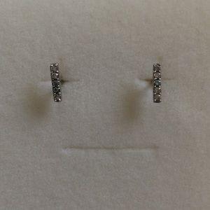 Bar Earrings with CZs - Silver